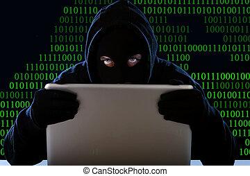 pirata informático, hombre, en, negro, capucha, y, máscara,...