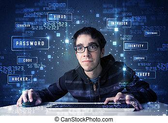 pirata informático, iconos, enviroment, cyber, tecnología,...