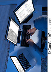 pirata informático, múltiplo, robar, computadoras, utilizar,...