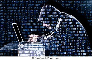 pirata informático, mecanografía, en, un, computador...