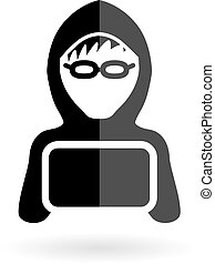 pirata informático, niño, icono