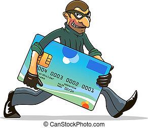 pirata informático, o, ladrón, robar, tarjeta de crédito