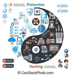 pirata informático, protección, infographic