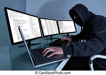 pirata informático, robar, datos, en, múltiplo, computadoras