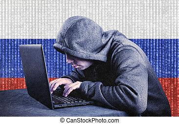 pirata informático, ruso, computador portatil, encapuchado, computadora