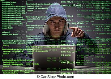 pirata informático, seguridad, concepto, datos, joven