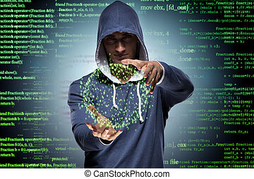 pirata informático, seguridad, concepto, joven, cyber