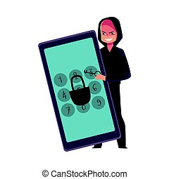 pirata informático, smartphone, teléfono, alfiler, cerradura, pantalla, rotura, agrietamiento, código