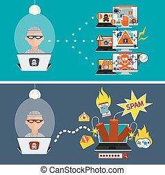pirata informático, spam, e-mail, virus, actividad, tajar