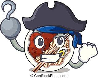 pirata, jajangmyeon, aislado, caricatura