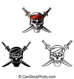 pirata, libro colorear, cráneo, caracter