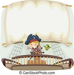 pirata, nave, bandiera