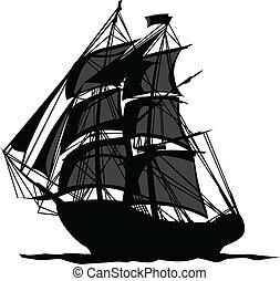 pirata, nave, con, ombre, in, vele