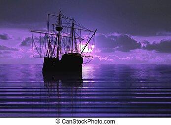 pirata, nave, durante, tramonto