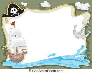 pirata, nave, fondo