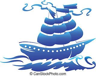 pirata, nave, simbolo, logotipo