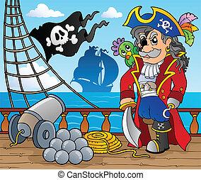 pirata, navio, convés, tema, 3