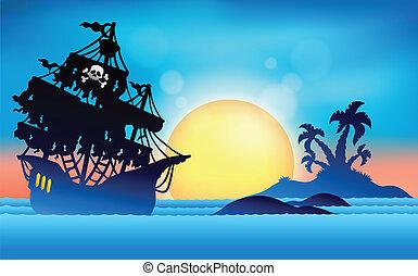 pirata, navio, perto, ilha pequena, 1