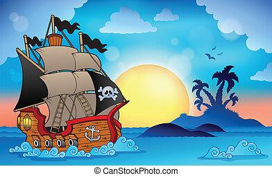 pirata, navio, perto, ilha pequena, 3