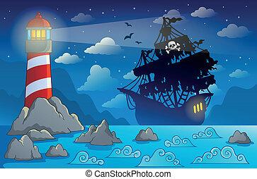 pirata, navio, silueta, perto, costa, 1