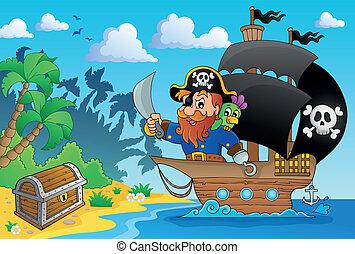 pirata, navio, tema, imagem, 1