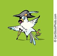 pirata, pappagallo, cartone animato, vettore, illustrazione