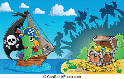 pirata, peito, tesouro, tema, 4