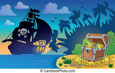 pirata, peito, tesouro, tema, 6