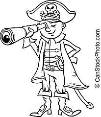 pirata, ragazzo, cartone animato, coloritura, pagina