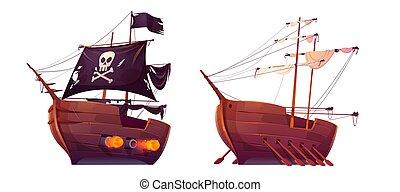 pirata, remos, galera, esclavo, aislado, barco