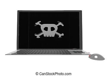 pirata, símbolo, encima, computador portatil