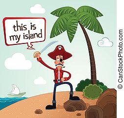 pirata, scoprire, un, isola