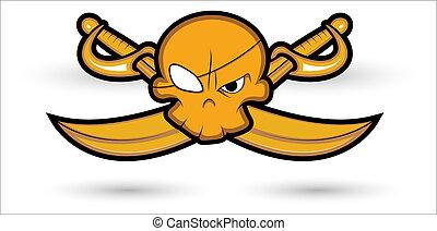 pirata, segno, mascotte, illustrazione