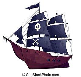 pirata, ship., vector, negro, velas, caricatura, barco
