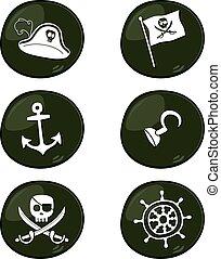 pirata, sinal, ícone, jogo