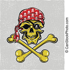 pirata, skull., mano, drawn., vector, eps8