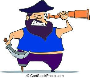 pirata, spyglass., caricatura, vector, one-legged