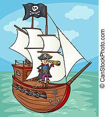 pirata, su, nave, cartone animato, illustrazione