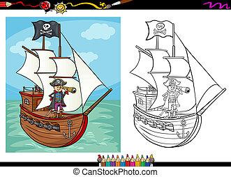 pirata, su, nave, cartone animato, libro colorante