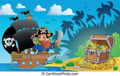 pirata, tema, con, faccia tesoro torace, 2