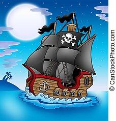 pirata, vasija, por la noche