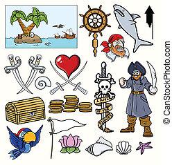pirata, vettore, illustrazione, progetta
