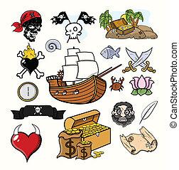 pirata, vettore, illustrazione, set