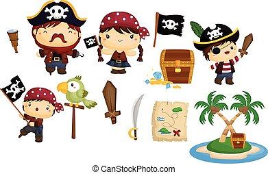 pirata, vettore, set