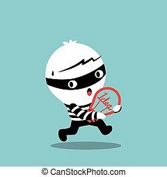 pirataria, bulbo, roubando, idéia, ladrão