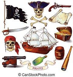 piratas, caricatura, iconos, conjunto