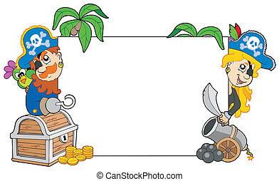 piratas, caricatura, tábua, segurando, em branco