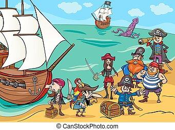 piratas, con, barco, caricatura