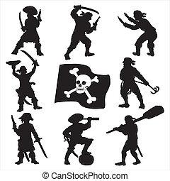 piratas, tripulación, siluetas, conjunto, 1