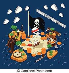 Pirate Adventures Isometric Composition